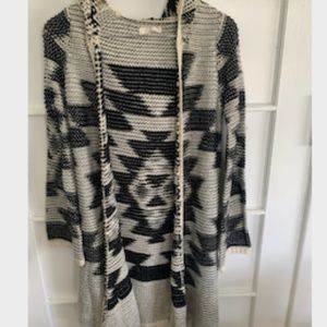 Aztec Hooded Long Sweater